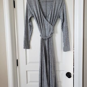 GAP cascading wrap heathered grey dress